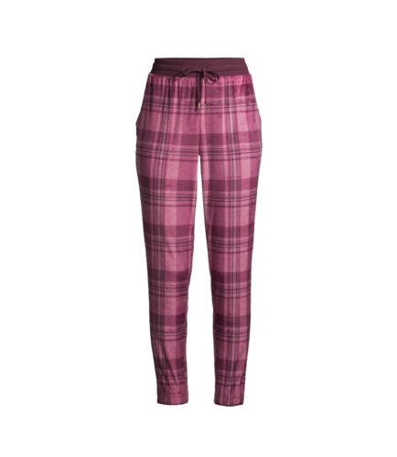 Secret Treasures Women/'s Pink Plaid Velour Drawstring Lounge Jogger Pants