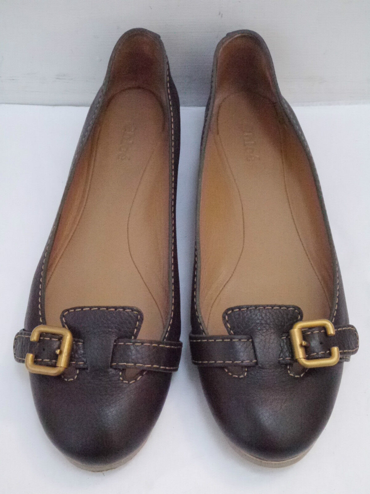 CHLOE  465 Prince dark brown calf leather ballet flats flats flats Italian size 39 WORN ONCE 588a49
