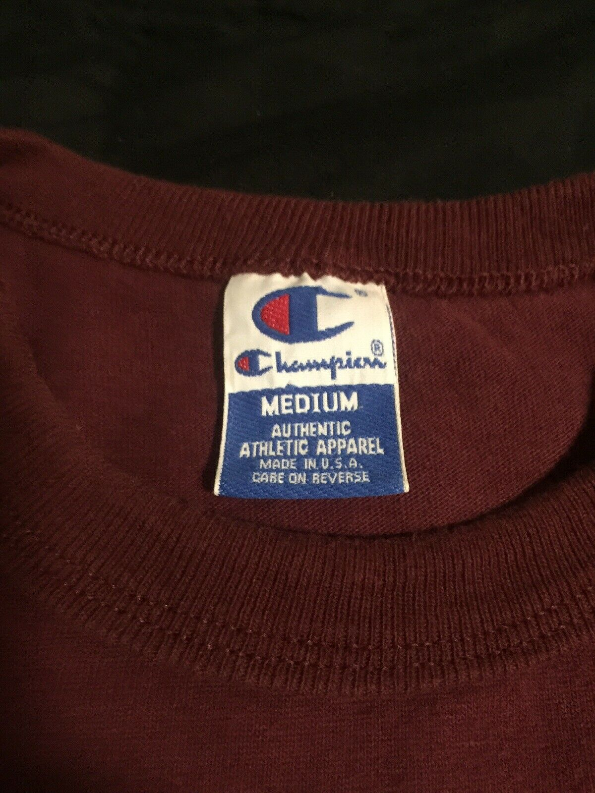 Vintage 80s EMBROIDERED Harvard Medium Champion T-Shirt Maroon Single Stitch
