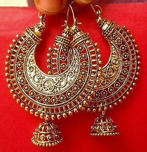 Image Is Loading Traditional Bollywood Oxidized Gold Tone Jhumka Earring Ethnic