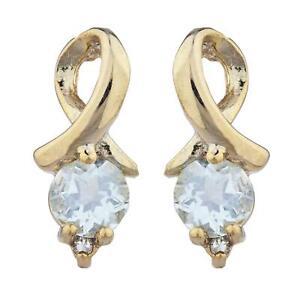 Details About 14kt Gold Aquamarine Diamond Round Design Stud Earrings