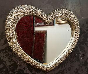 herz wand spiegel kunstvoll champagner silberrahmen franz sisch graviertes rose ebay. Black Bedroom Furniture Sets. Home Design Ideas