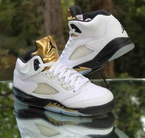 1f5ad33cc046 Nike Air Jordan 5 Retro GS Olympic Gold Coin White Black 440888-133 ...