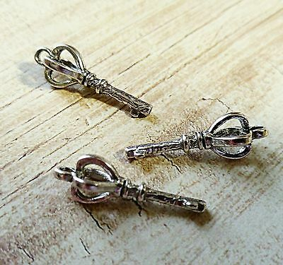 Skeleton Key Charms Antiqued Silver Steampunk Key Pendants Crown Top 3D 25//50+