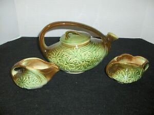 McCoy pottery tea set daisy pattern teapot creamer sugar bowl brown green arts and crafts farmhouse cottage style kitchen home decor serving