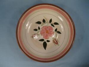 Stangl-Wild-Rose-Salad-Serving-Bowl-Large-8in-Pottery-Pink-Flowers-Vintage-O