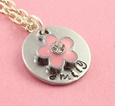 Pink Flower Girl Necklace - Personalized Wedding Gift - Silver Present For Child