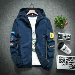 Men-039-s-Zipper-Short-Hoodie-Jacket-Coat-thin-outwear-Blue