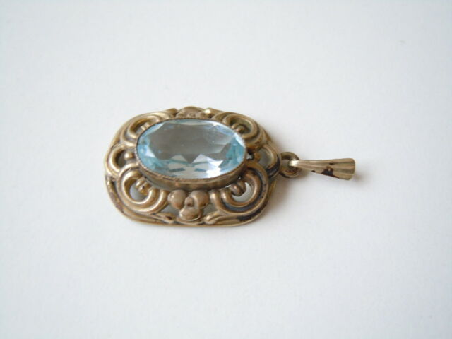 Age Pendant Gold Plated with Color Stone Blue Oresto 4,6 G/3,5 x 1,7 cm