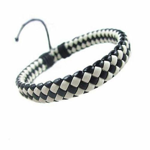 Mens Womens Wrap Leather Bracelet Braided Rope Wristband Surfer Tri New Bla S8B3