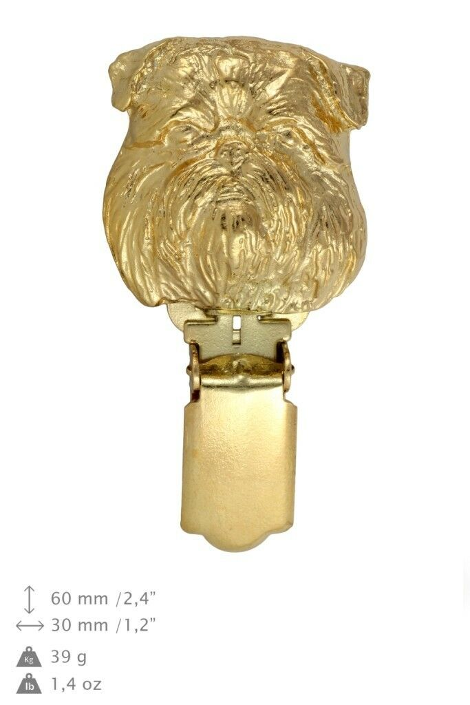 Griffon Bruxellois - clip, oro covered clipring with dog, high quality, Art Dog