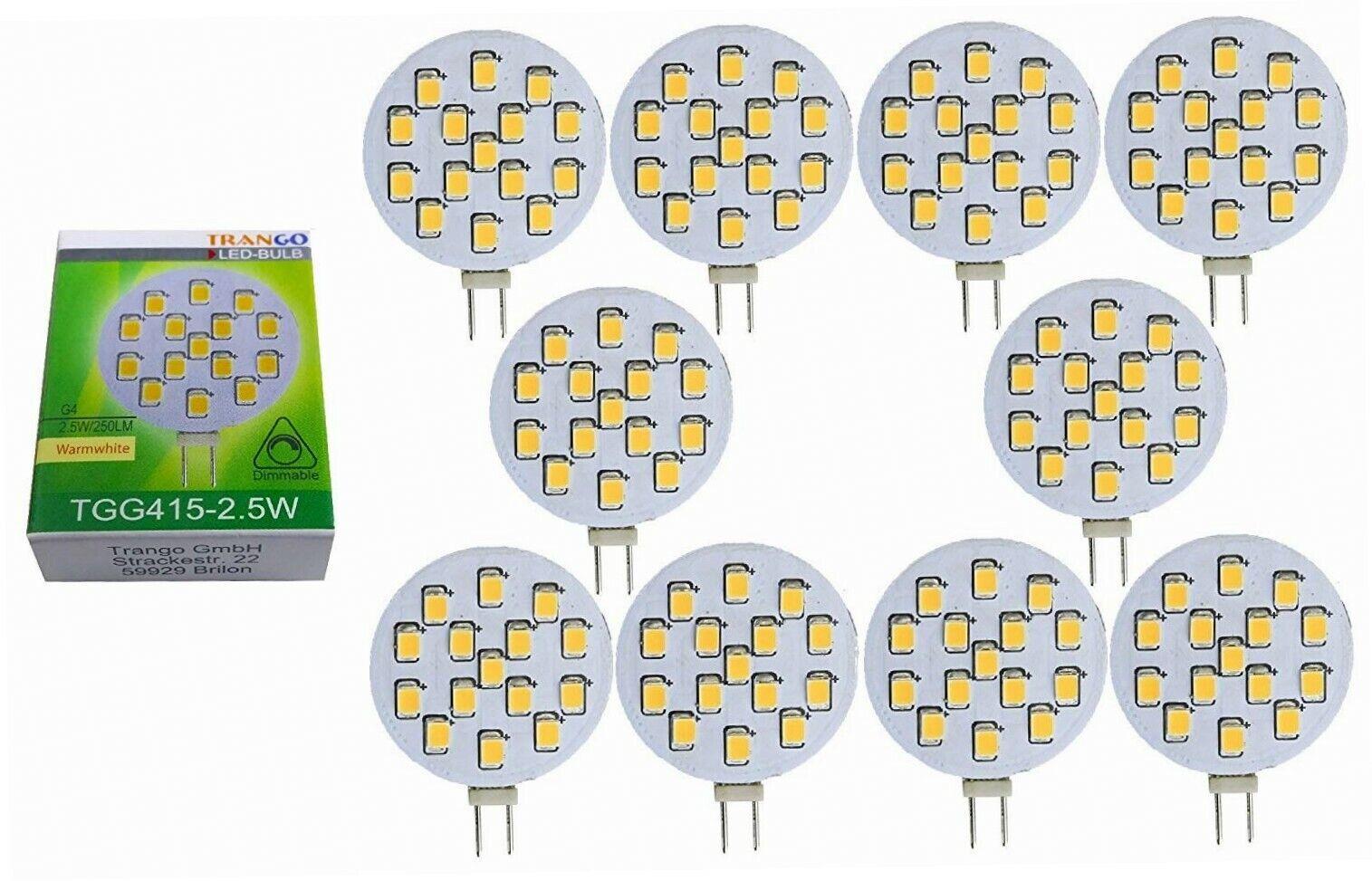 10 x Trango LED Leuchtmittel dimmbar G4 12V AC DC ca. 2.5 Watt warmweiss...