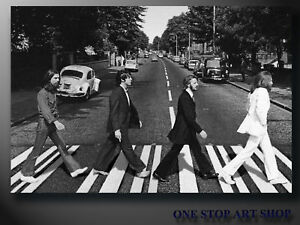 THE BEATLES ABBEY ROAD POP ART CANVAS PRINT FRAMED 20x16inch