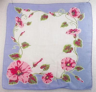 Vintage Hankie Handkerchief Pink Hibiscus Flowers Blue Border Cotton 1950s Retro