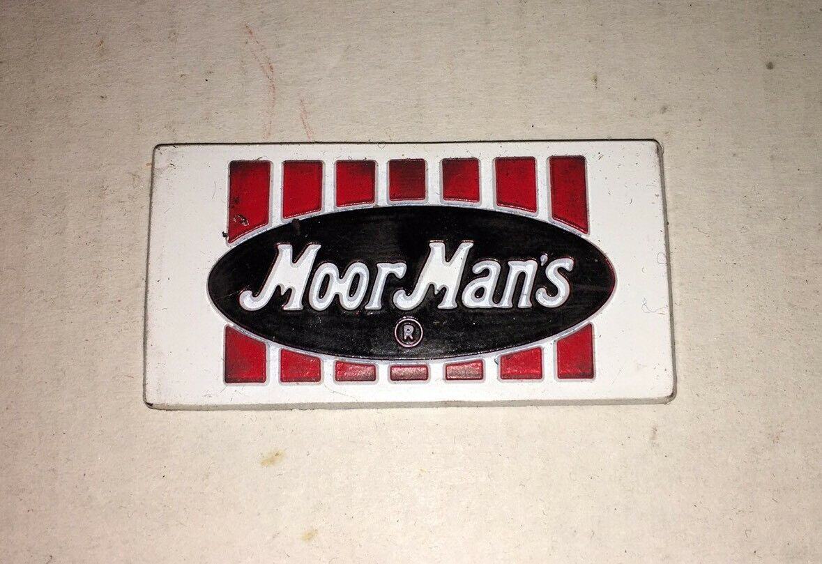 """Vintage MoorMan/'s Feed Rubber Advertising Magnet 2/"""" x 1/"""""""