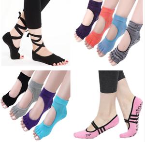 Lot Pair Women Men Yoga Pilates Ballet Exercise Grips Cotton Socks Non Slip Skid