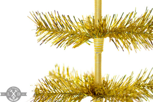 18/'/' Gold Tinsel Tree Christmas Holiday Tree 1FT Table-Top XMASS Decor Golden