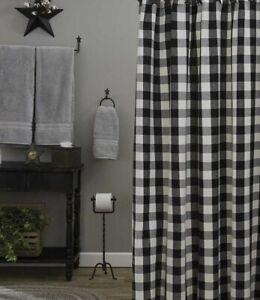 WICKLOW-BLACK-amp-CREAM-Shower-Curtain-Buffalo-Check-Farmhouse-Bath-Park-Designs