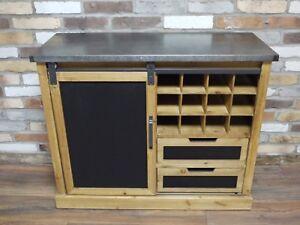 Industrial-Reclaimed-Wood-Wine-Cabinet-Metal-Top-Home-Bar-Kitchen