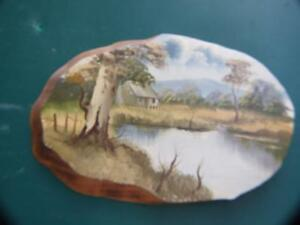 OIL-PAINTING-AUSTRALIAN-COUNTRYSIDE-ON-WOOD-PLAQUE-SIGNED-VINTAGE-ART