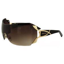 bdde4e06cd AUTHENTIC SWAROVSKI Sunglasses Gold Brown CRYSTALS Rimless Wrap Shield sw52