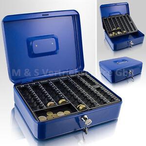 30cm-blau-Geldkassette-Muenzkassette-Zaehlkassette-Transportkassette-Kasse-Safe
