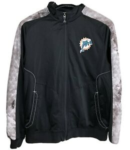 NFL-Onfield-Reebok-Miami-Dolphins-Zip-Up-Black-Jacket-100-Polyester-Size-L