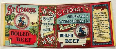 ST GEORGE CORNED MUTTON tin can label 1890s Dunedin New Zealand St George OLD