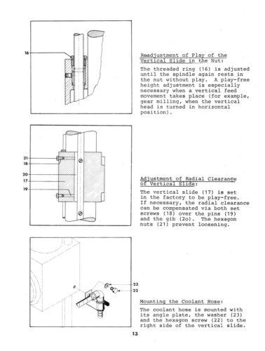 Emco Drill Milling Unit for Maximat V13 Lathe Instruction /& Parts Manual #1526