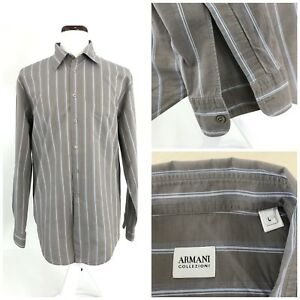 Armani-Collezioni-Mens-Large-Gray-amp-Blue-striped-Long-Sleeve-Button-Front-P-38