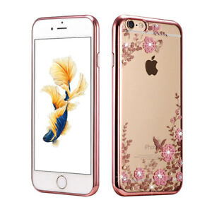 iPhone-5-6-7-8-Plus-Transparent-Soft-Case-with-Jewels-Flower-amp-Metallic-Bumper