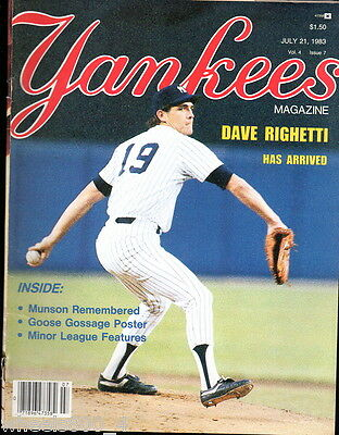 Yankees Magazine July 21,1983 Don Mattingly Dave Righetti Ron Guidry Goose Exc