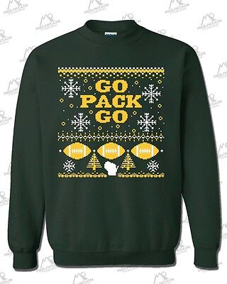 """Green Bay Packers Fans """"Ugly Sweater"""" Crewneck Sweatshirt - FOREST GREEN Go Pack"""