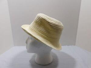 08747f68 Image is loading Ivory-Ribbon-Stitch-Brim-Hat-One-Size