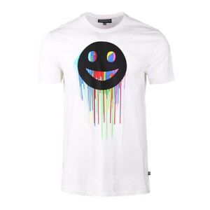 Men-039-s-Emoji-Smiley-Face-Graphic-Crew-Neck-Short-Sleeve-T-shirt-Tee-White
