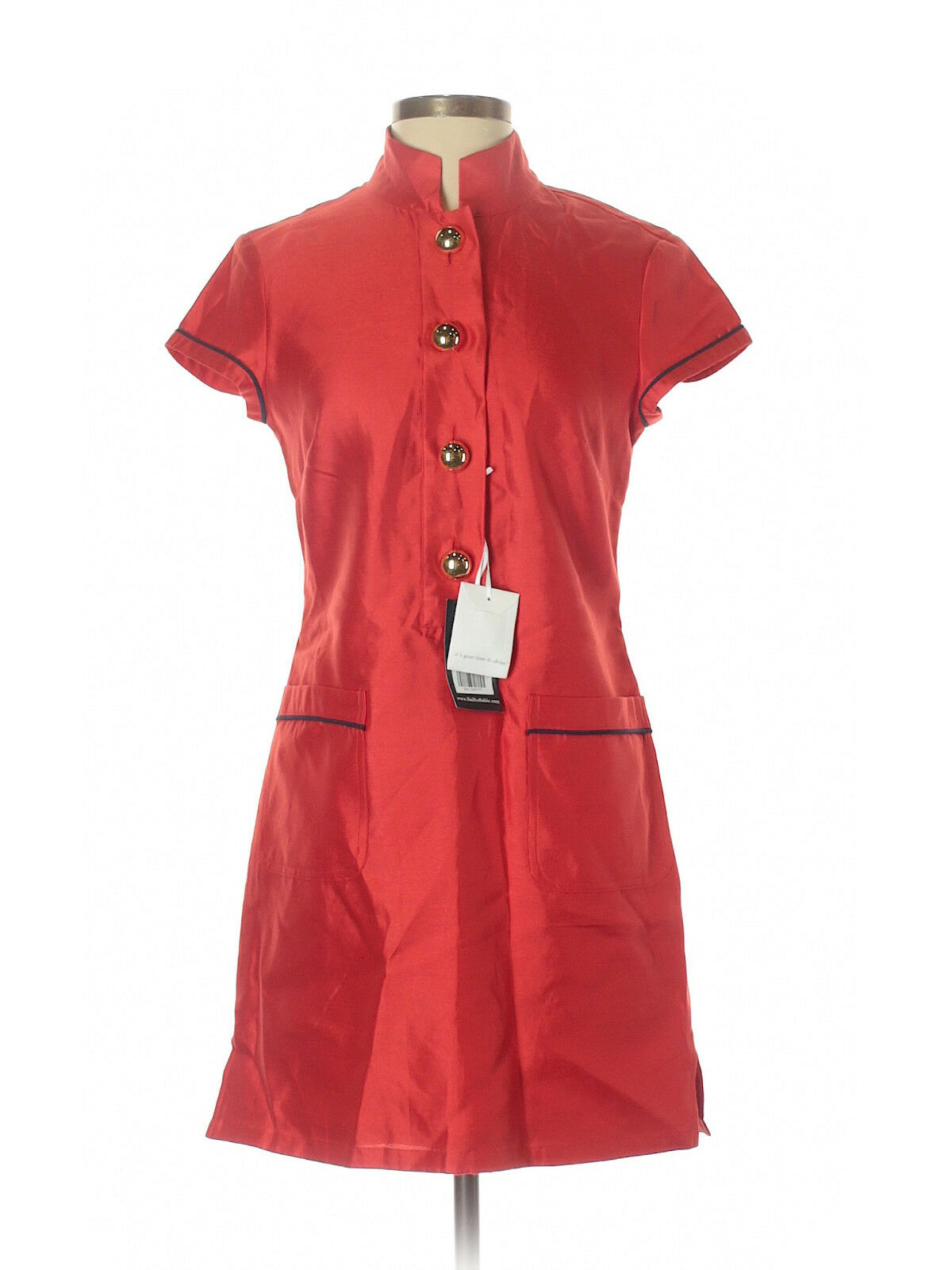 New Women Women Women Sail to Sable STS Solid Red Stand Collar gold Button Silk Dress Size 2 5d152d