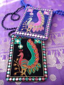 Velvet Bag Fair Trade Cross Body Peacock Mirror Evening Passport Boho Ethnic