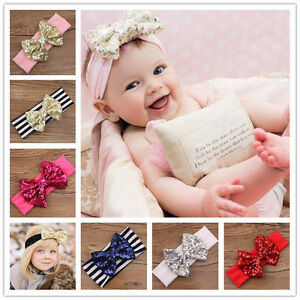 Baby-Knot-Sparkle-Sparkling-Stripe-Bow-Sequin-Headband-Infant-Newborn-Girl