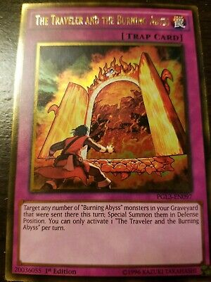 X3 YUGIOH THE TRACELER AND THE BURNING ABYSS GOLD RARE PGL3-EN097 1ST IN HAND