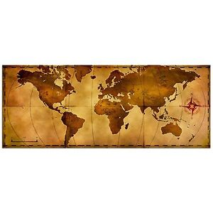 Delightful Image Is Loading Old World Map Rustic Metal Wall Art Aged