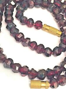 Vintage-faceted-GARNET-necklace-natural-gemstones-handmade-28g