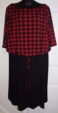 Shelby & Palmer 22W Black Red Half Sleeve Dress 3x Front Tie Elastic Waist
