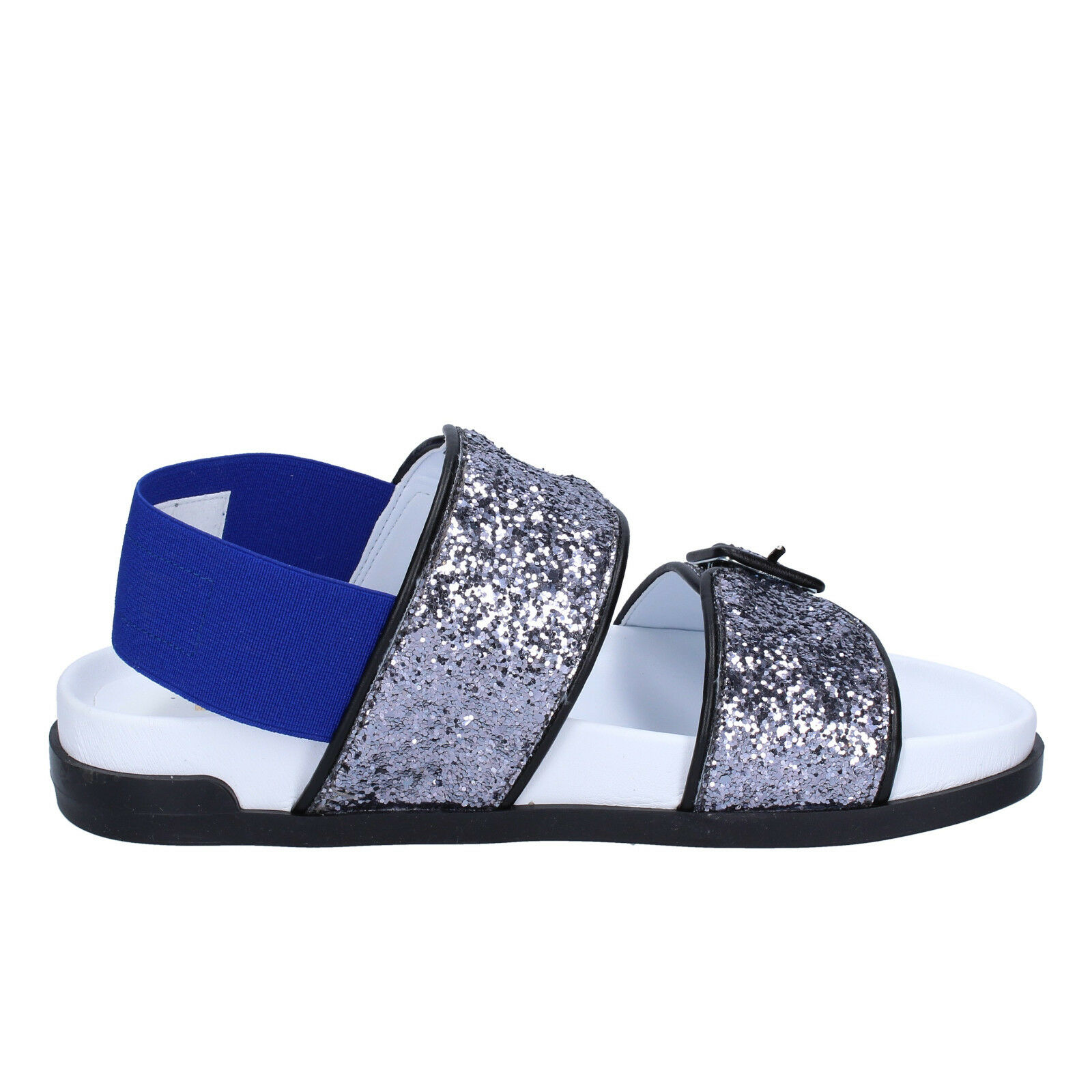 Women's shoes shoes shoes JEANNOT 7 (EU 40) sandals silver bluee glitter textile BT512-40 e9631f