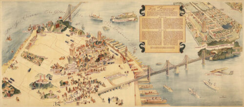 Pictorial Map San Francisco City of Thousand and One Delights Wall Art Poster