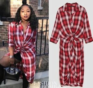 bdadeaffa5 ZARA Red   White Checked Flannel Shirt Dress with Front Knot L BNWT ...