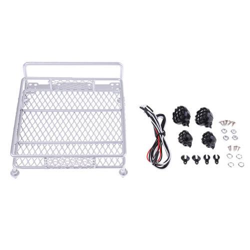 Roof Luggage Rack 4 LED Spot Light Bars for 1:8 1:10 RC Rock Crawler Vehicle