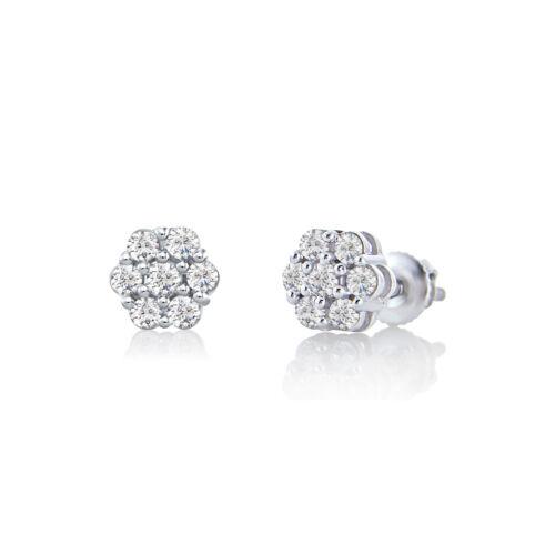 14K WHITE GOLD FN BRILLIANT SIM DIAMOND WOMEN/'S FASHION STUD CLUSTER EARRINGS