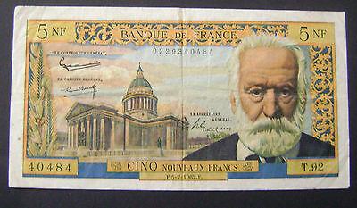 1962 Frankrijk France 5 Nf Nouveaux Francs 1959-1965 Victor Hugo