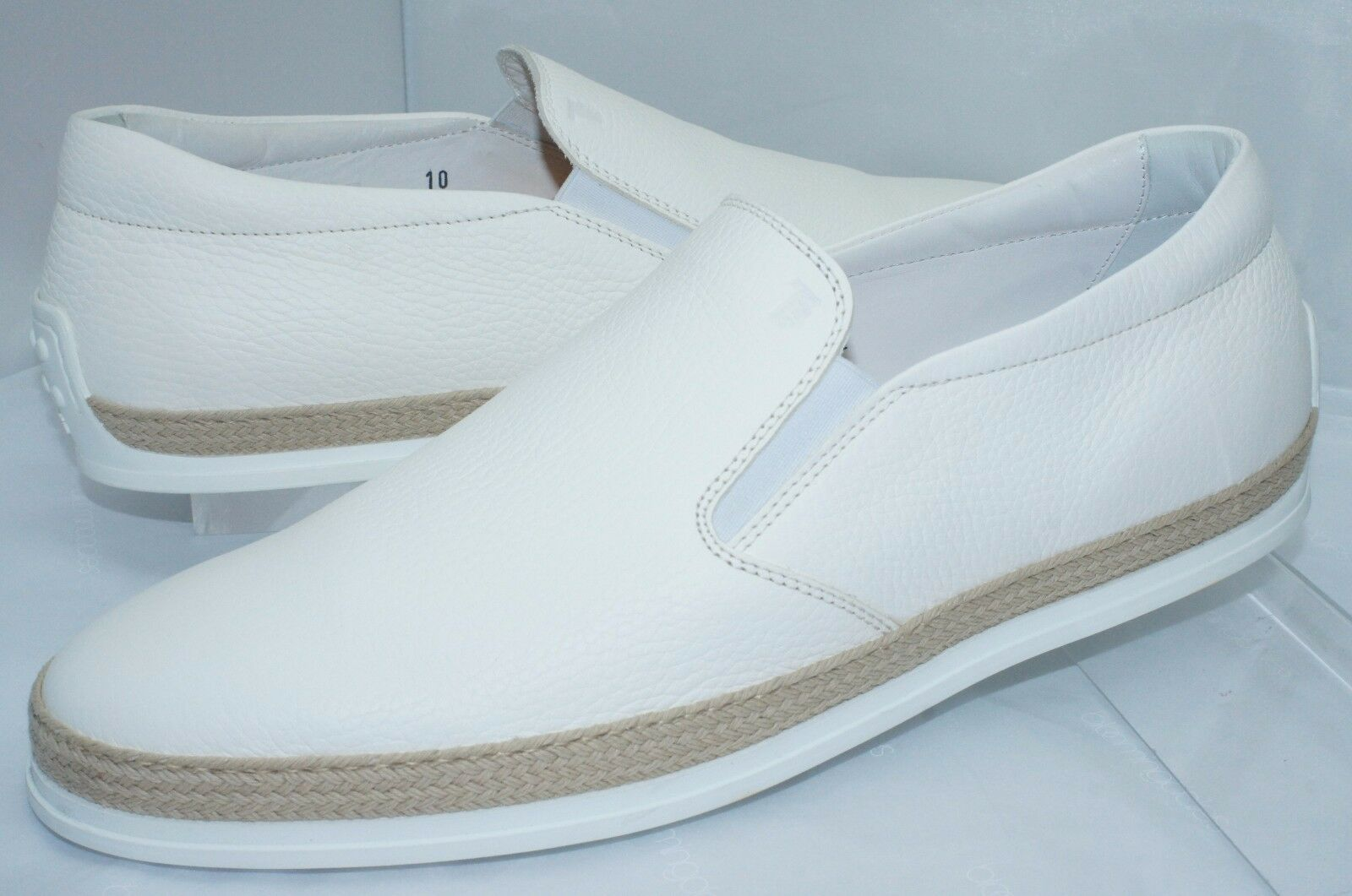 New Tod's Men's Tennis Shoes Loafers White Driver Size 10 Slip Ons Leather