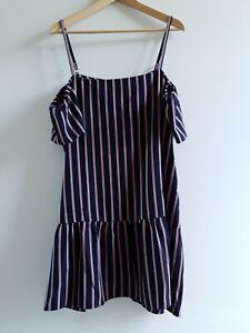 Calli-Women-039-s-Mini-Dress-Striped-Navy-Blue-Cold-Shoulder-Plus-Size-18